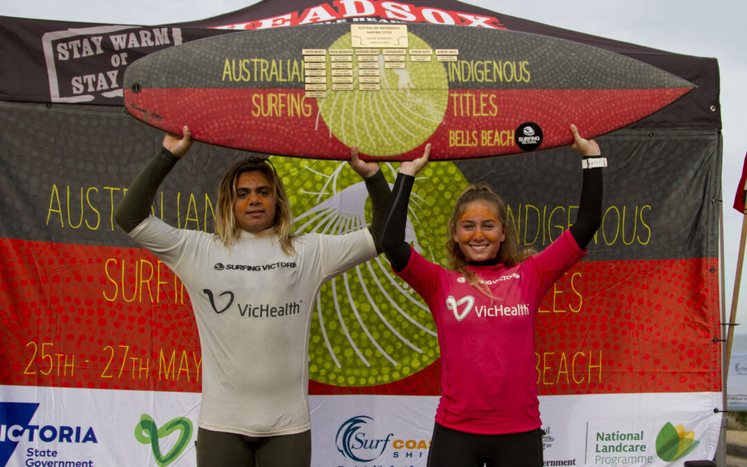 Rohnin Henry-Micale and Summer Simon claim the 2018 Australian Indigenous Surfing Titles at Bells Beach